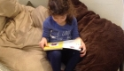 little girl studying